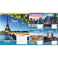 Тетрадь ученическая А5/18 листов в клетку YES Famous cities