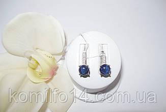 Срібні сережки з натуральним зірчастим сапфіром, фото 3