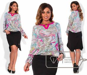 Женская легкая красивая блуза в больших размерах (разные принты) w-15ba435