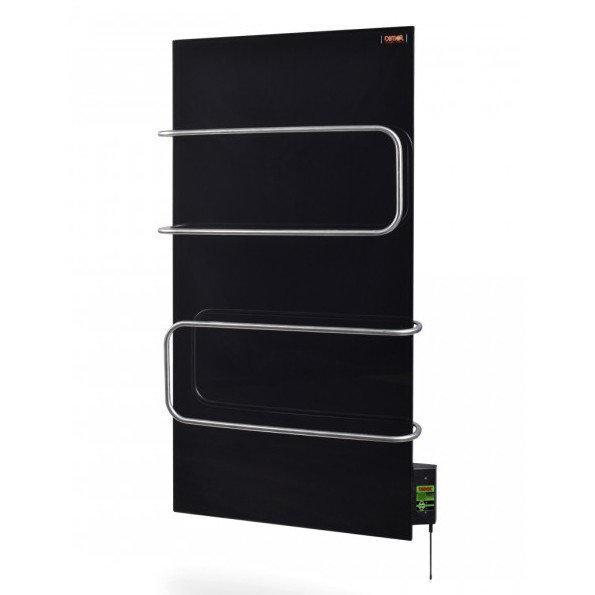 Стекло–керамический полотенцесушитель Dimol Maxi 07 U TR с терморегулятором (черный)