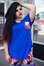 Летний цветочный женский костюм в больших размерах t-10ba681, фото 2