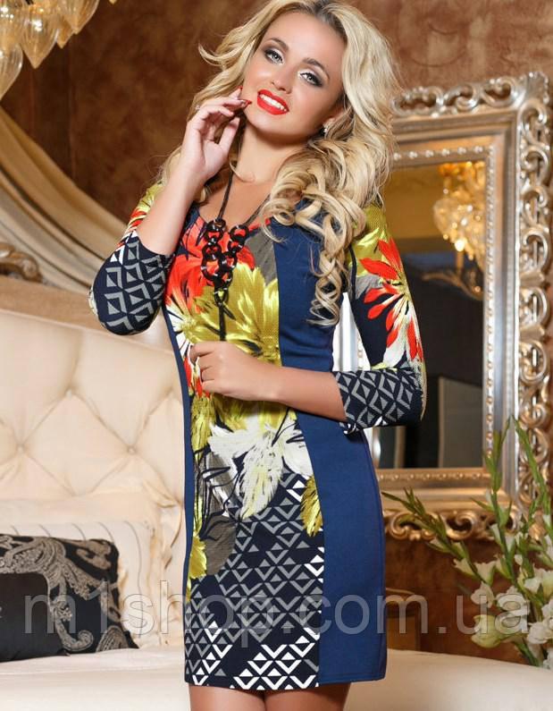 Трикотажное женское женское платье с ярким принтом (2042-2041-2044 svt)