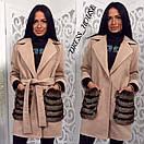 Кашемировое женское пальто с меховыми карманами р-5pt96, фото 2