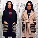 Кашемировое женское пальто с меховыми карманами р-5pt96, фото 5