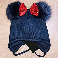 Зимова шапочка для дівчинки з двома хутряними помпонам (48-50), фото 1