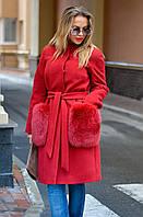 Стильное пальто женское с меховыми карманами в 5ти цветах IF 0038