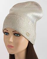 Шапка-колпак для женщин с логотипом Gucci бежевая с жемчужным напылением