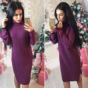 Теплое вязаное платье с воротником в расцветках l-41py2381