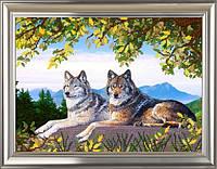 """Схема для вышивки бисером А3 """"Волки. В горах"""""""