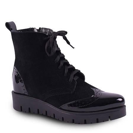 Модные женские ботинки (лак+замш, черные, на платформе, зимние, на шнуровке, тракторная подошва, теплые)