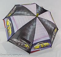 """Детский зонтик трость для мальчика с машинками на 6-9 лет от фирмы """"Feeling Rain""""."""