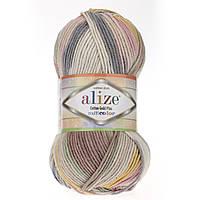 Турецкая пряжа для вязания Alize Cotton Gold Plus Multi Color толстая пряжа- полухлопок 52204