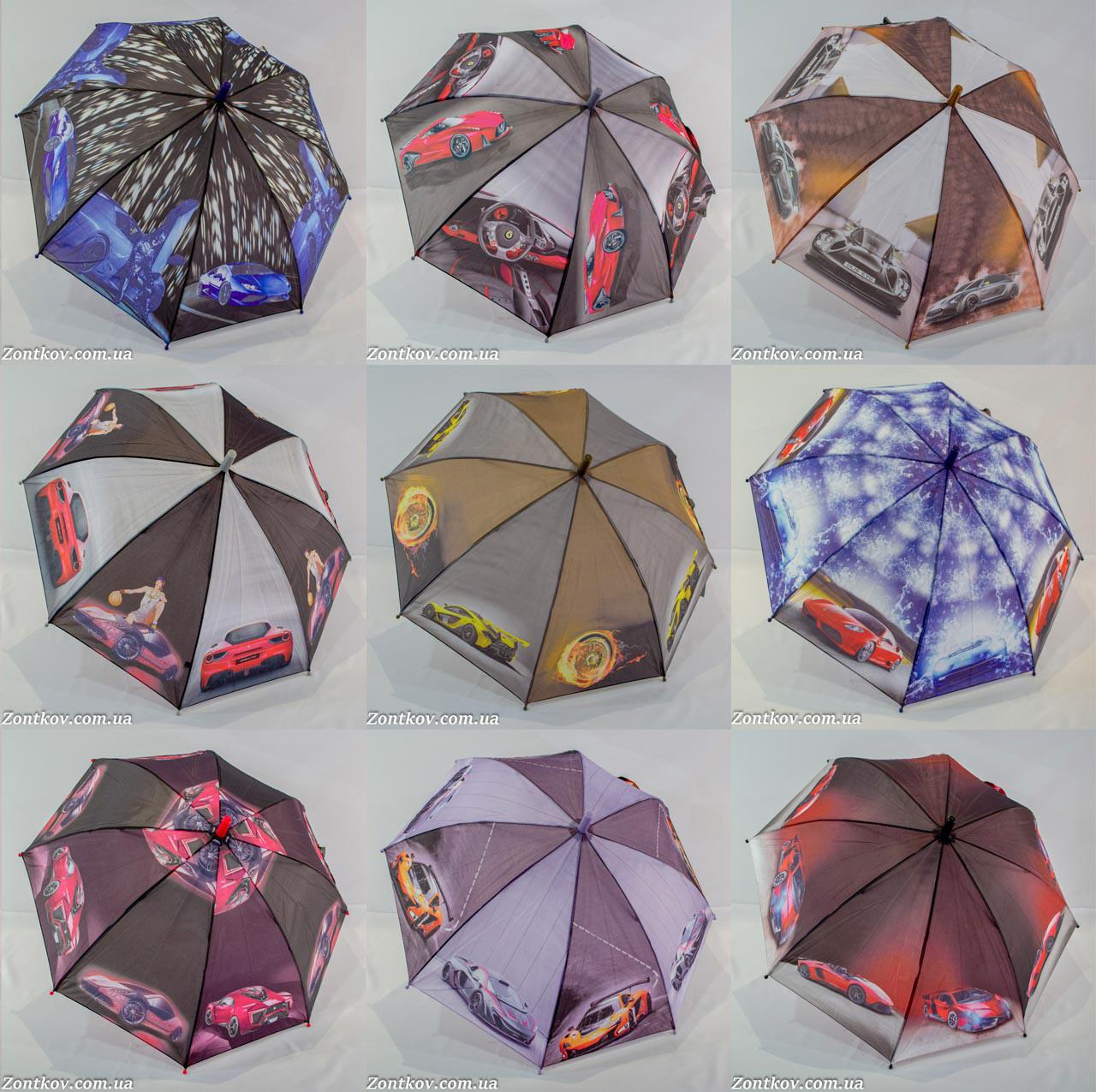"""Детский зонтик трость для мальчика оптом с машинками на 6-9 лет от фирмы """"Feeling Rain""""."""