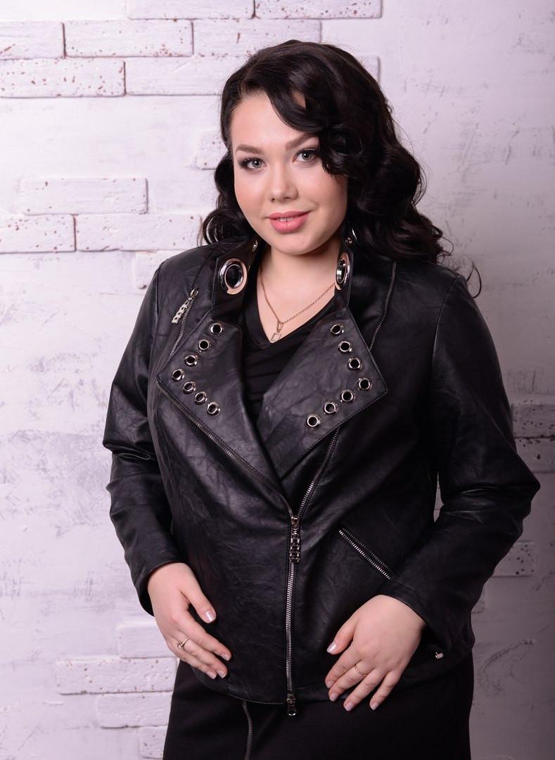 Женская куртка косуха в больших размерах o-t10ba1236