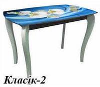 Стол обеденный деревянный+ стеклянная столешница ДКС Классик-2 (фотопечать)