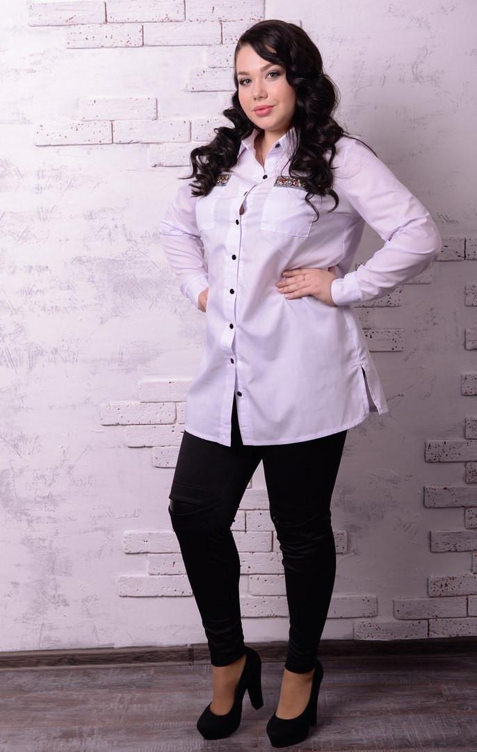 Удлиненная женская рубашка батал в расцветках t-t10ba1234