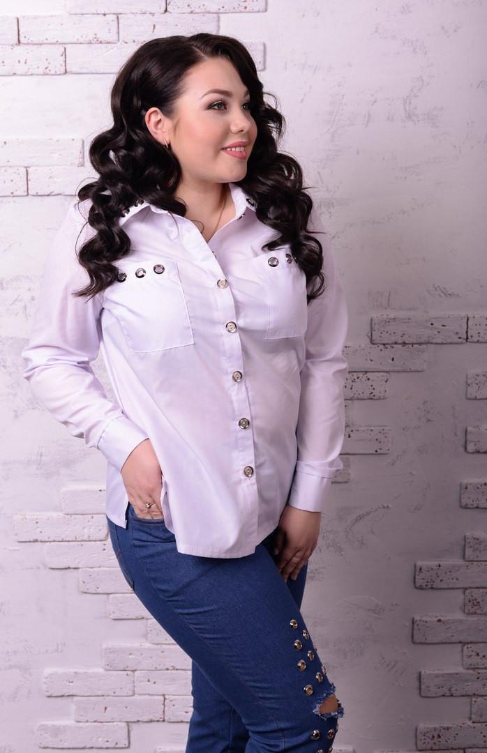 Стильная женская рубашка в больших размерах e-t10ba1235