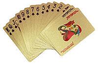 Покерные пластиковые игральные карты (золотые), колода 54 шт., с доставкой по Киеву и Украине