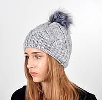 Женская шапка с помпоном 3315 серый, фото 1