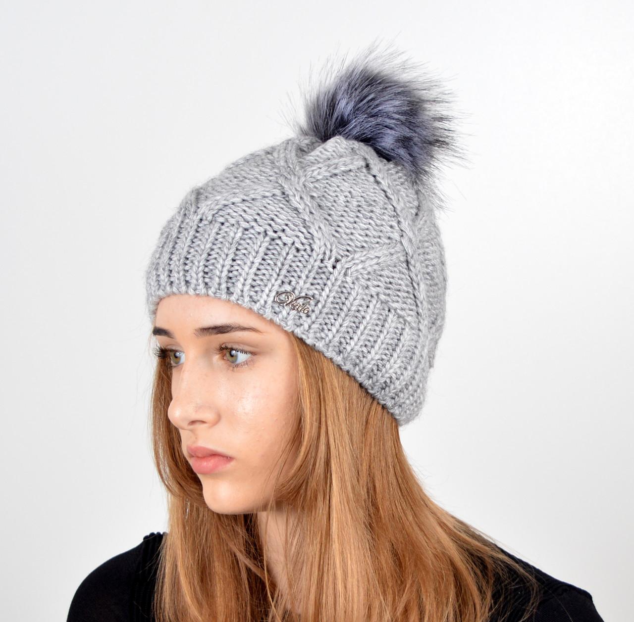 Женская шапка с помпоном 3315 серый