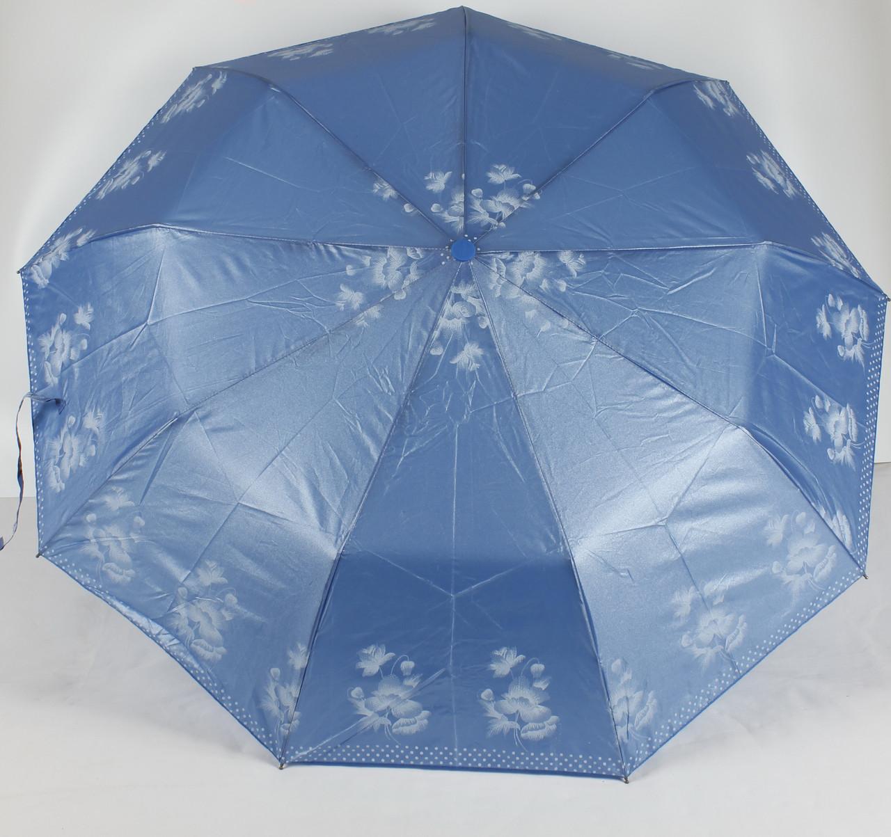 Зонт женский полуавтомат 3 сложения серебряное напыление Lantana