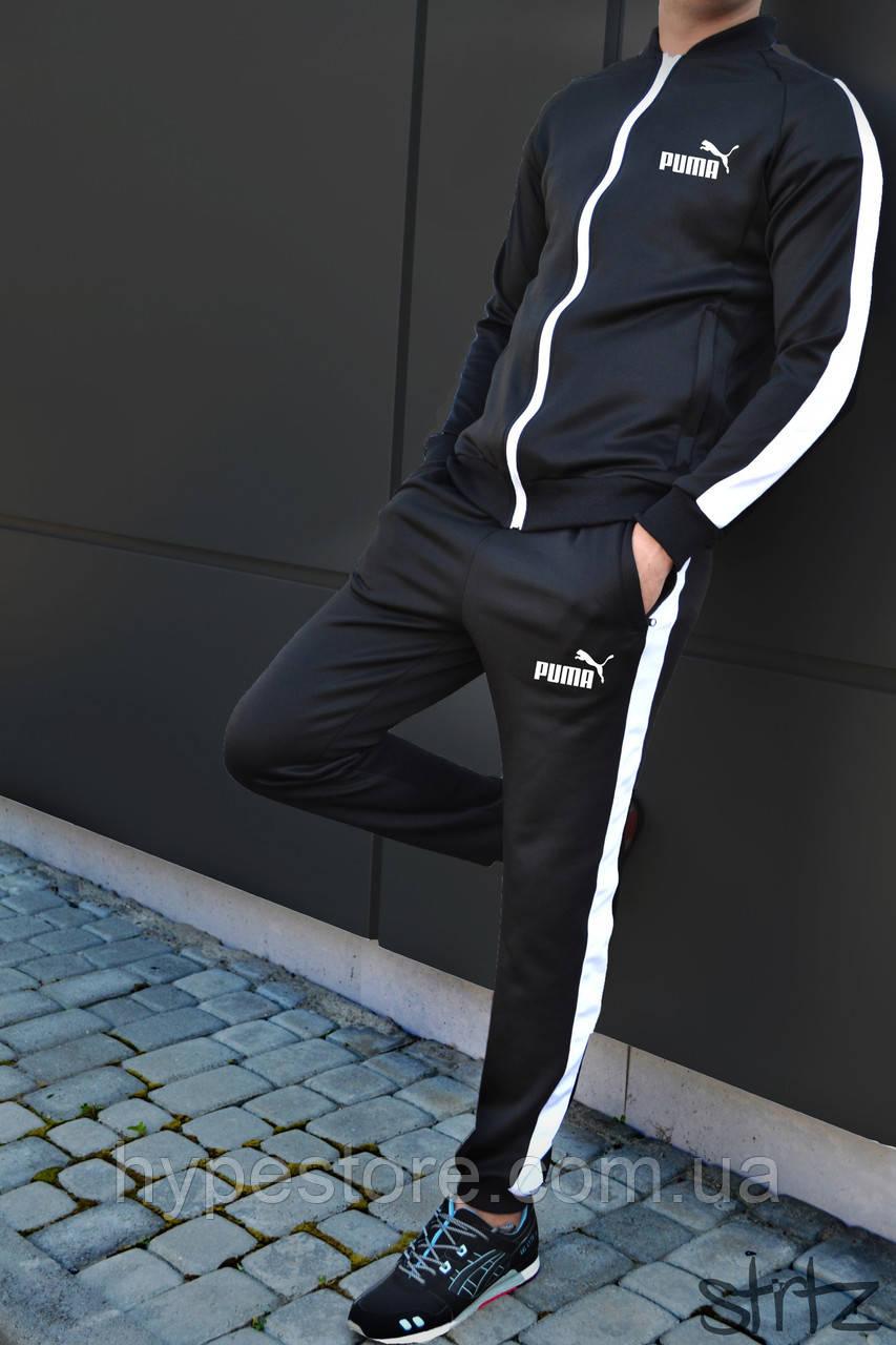 714e050ea3a2 Мужской спортивный костюм с полосками Puma, черный (акция), Реплика -  Интернет-
