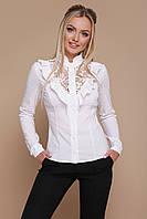 Нарядна біла блуза з бенгаліну та гипюру, фото 1