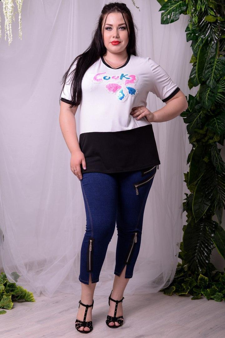 Женская двухцветная футболка в больших размерах w-ta1051374
