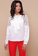 Біла нарядна блузка з шовку та гипюру, фото 1