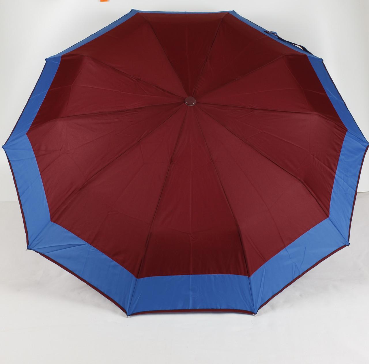 Зонт женский полуавтомат 3 сложения с каймой S.L.