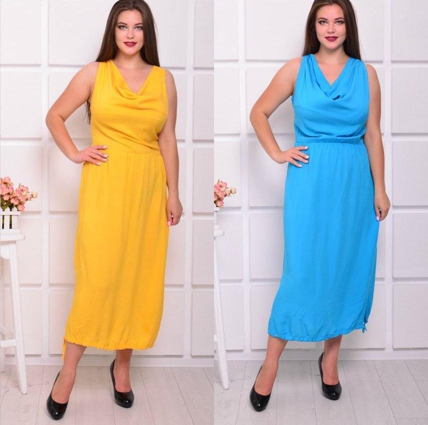 Свободное женское платье без рукавов (батал) в расцветках y-ta6ba52