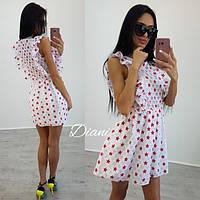 Летнее платье в мелком принте с коротким рукавом x-t140381