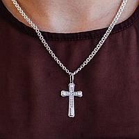 Крестик (распятие) серебряный в камнях #, фото 1