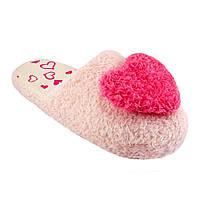 Тапочки женские махровые с розовым сердечком