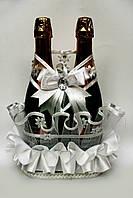 Корзинка для свадебного шампанского На счастье белая