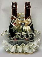 Свадебная корзинка для оформления шампанского На счастье шампань