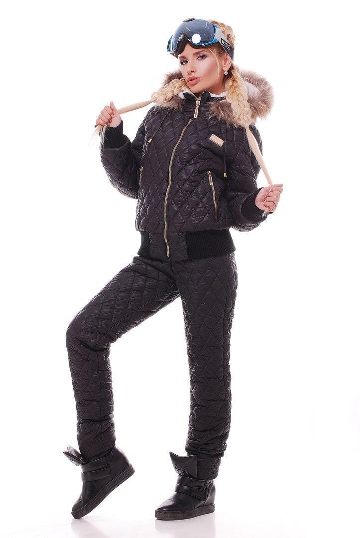 Женский зимний стеганный костюм с мехом в расцветках 31gk2