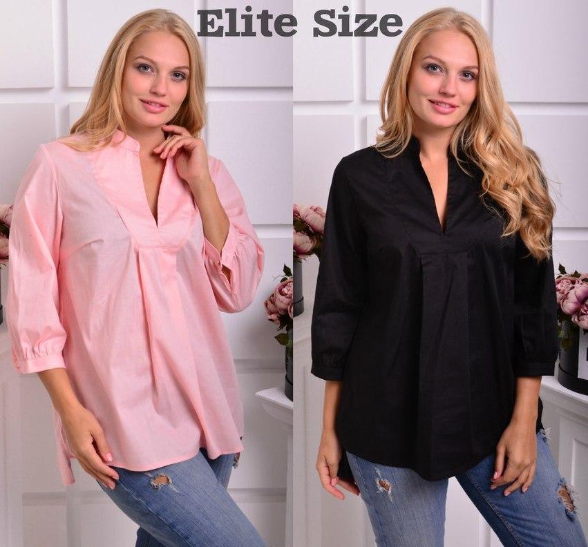 Коттоновая женская блуза большого размера в расцветках 6ba157