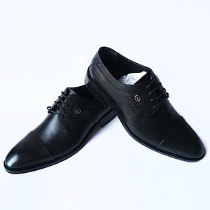 Турецкая кожаная мужская обувь: классические туфли черного цвета, на шнуровке