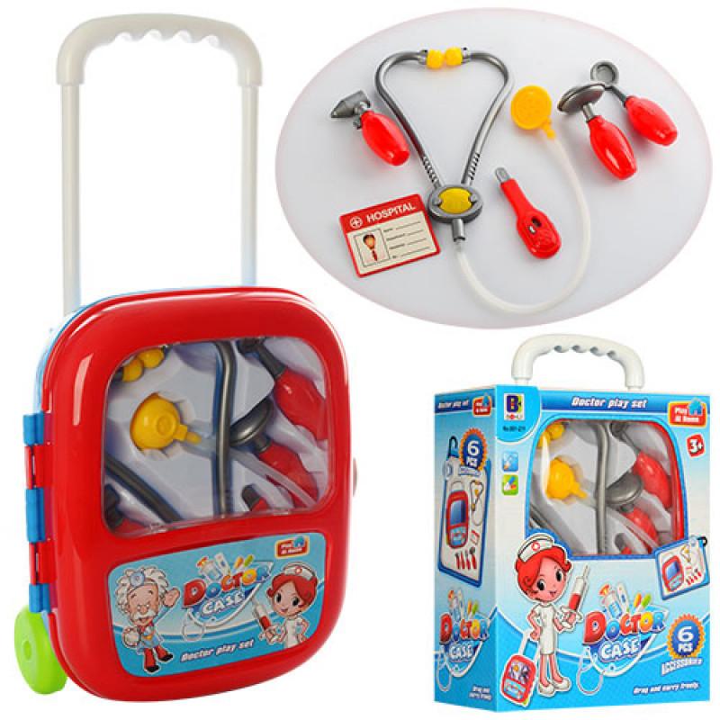 Игровой набор Доктор в Чемодане на колесиках, инструменты, 6 предметов, в чемоданчике с ручкой, 661-211
