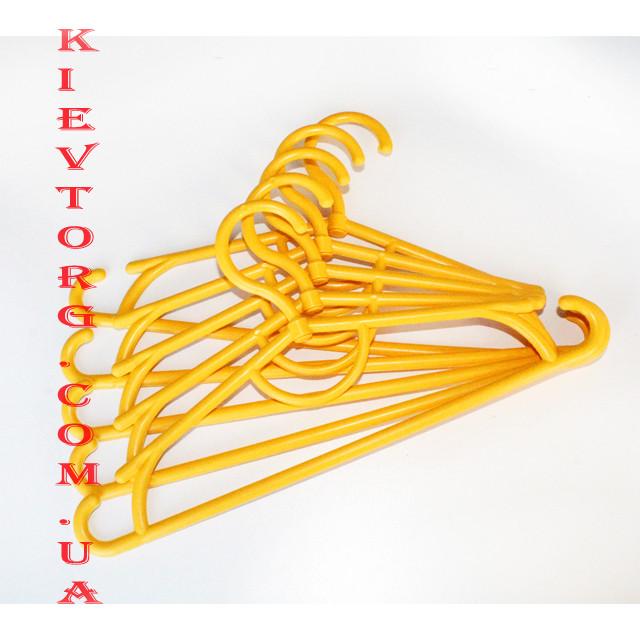 Плечики вешалки тремпеля пластиковые детские для одежды, костюмов, свитеров желтые, 31 см