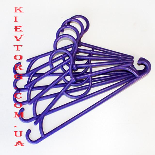 Плечики вешалки пластиковые детские, фиолетового цвета, длина 31 см