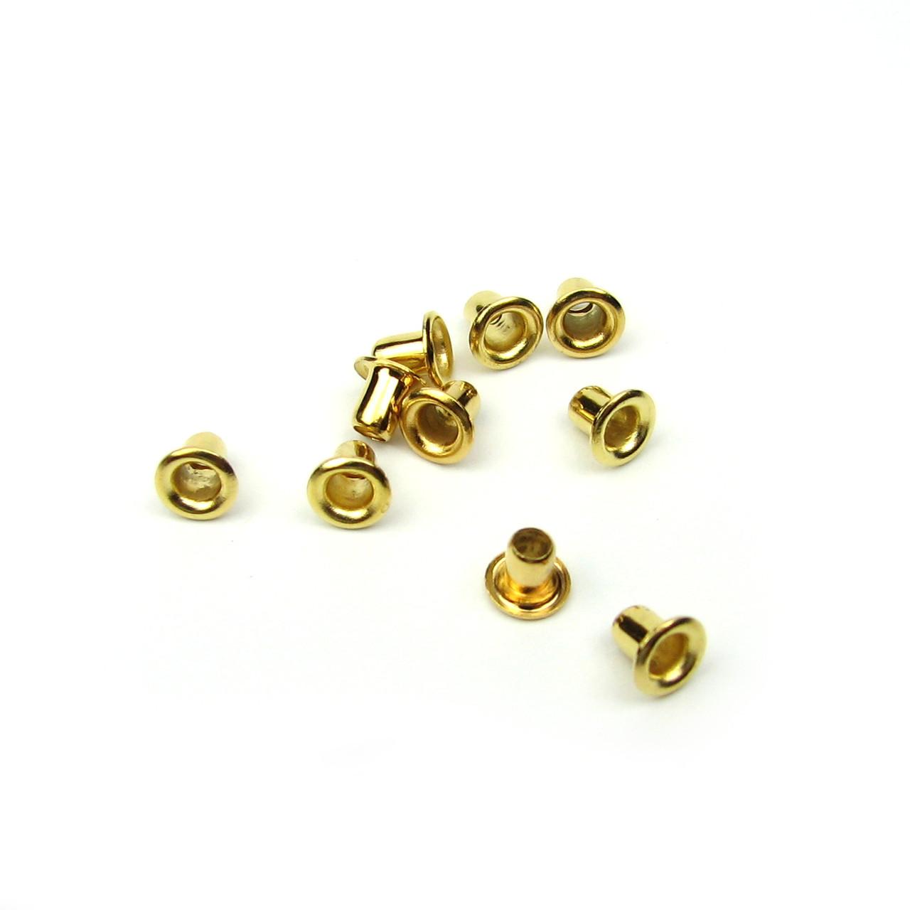 Люверсы Блочки для рукоделия 2мм золото 25шт в наборе