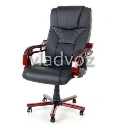 Кресло компьютерное офисное на прорезиненных колесиках Calviano Prezydent черный, фото 2
