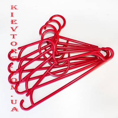 Вешалки плечики пластиковые детские, красного цвета, длина 31 см