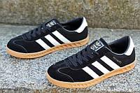 Кроссовки кеды женские, подростковые Adidas Hamburg реплика натуральная кожа, замша черные (Код: 1205а)
