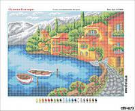 Схема вышивки бисером на габардине Дома возле моря