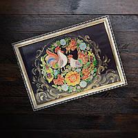 Картина на стекле витраж Народная роспись на черном фоне петушок курочка