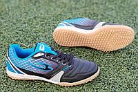 Сороконожки, бампы, кроссовки для футбола черные с синим износостойкая синтетическая кожа удобные (Код: 1211а), фото 1