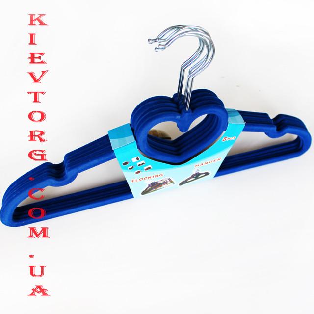 Бархатные Флокированные Плечики Вешалки 40 см синие